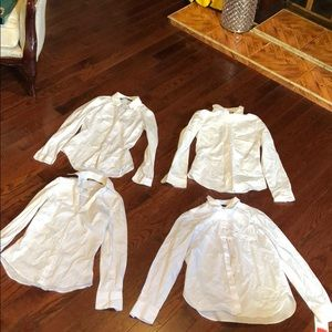 Four White Zara Button down shirts XS S NWT